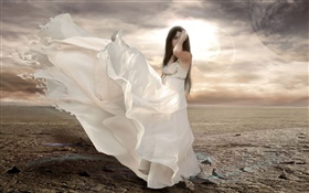 White dress fantasy girl, wind, sun HD wallpaper