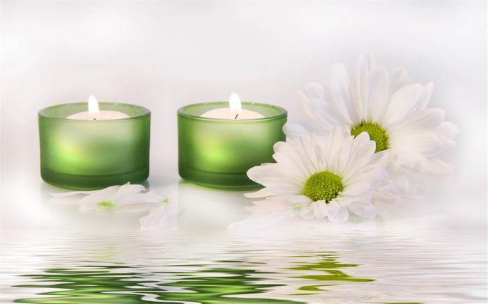 White flower, candle, water, SPA Wallpapers Pictures Photos Images