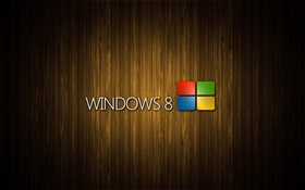 Windows 8 system logo, wood background