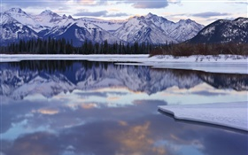 Winter, snow, mountains, trees, lake, water reflection HD wallpaper