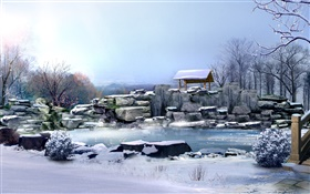 Winter, thick snow, stones, trees, pond, 3D render pictures