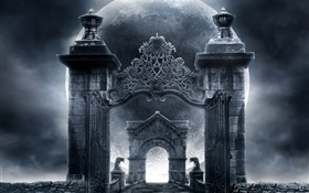 Witches castle gate, moon, creative design HD wallpaper