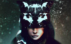 Wolf Shaman, girl, fantasy art HD wallpaper