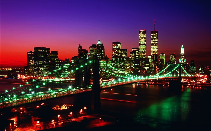 World trade center, Twin Towers, USA, bridge, nights, lights Wallpapers Pictures Photos Images