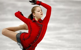 Yulia Lipnitskaya, figure skating, red dress HD wallpaper