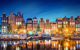 Amsterdam, Nederland, city, evening, river, houses, lights HD wallpaper