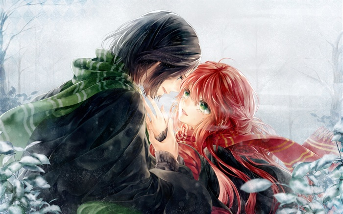 Art anime, lovers, red hair girl and short hair boy Wallpapers Pictures Photos Images