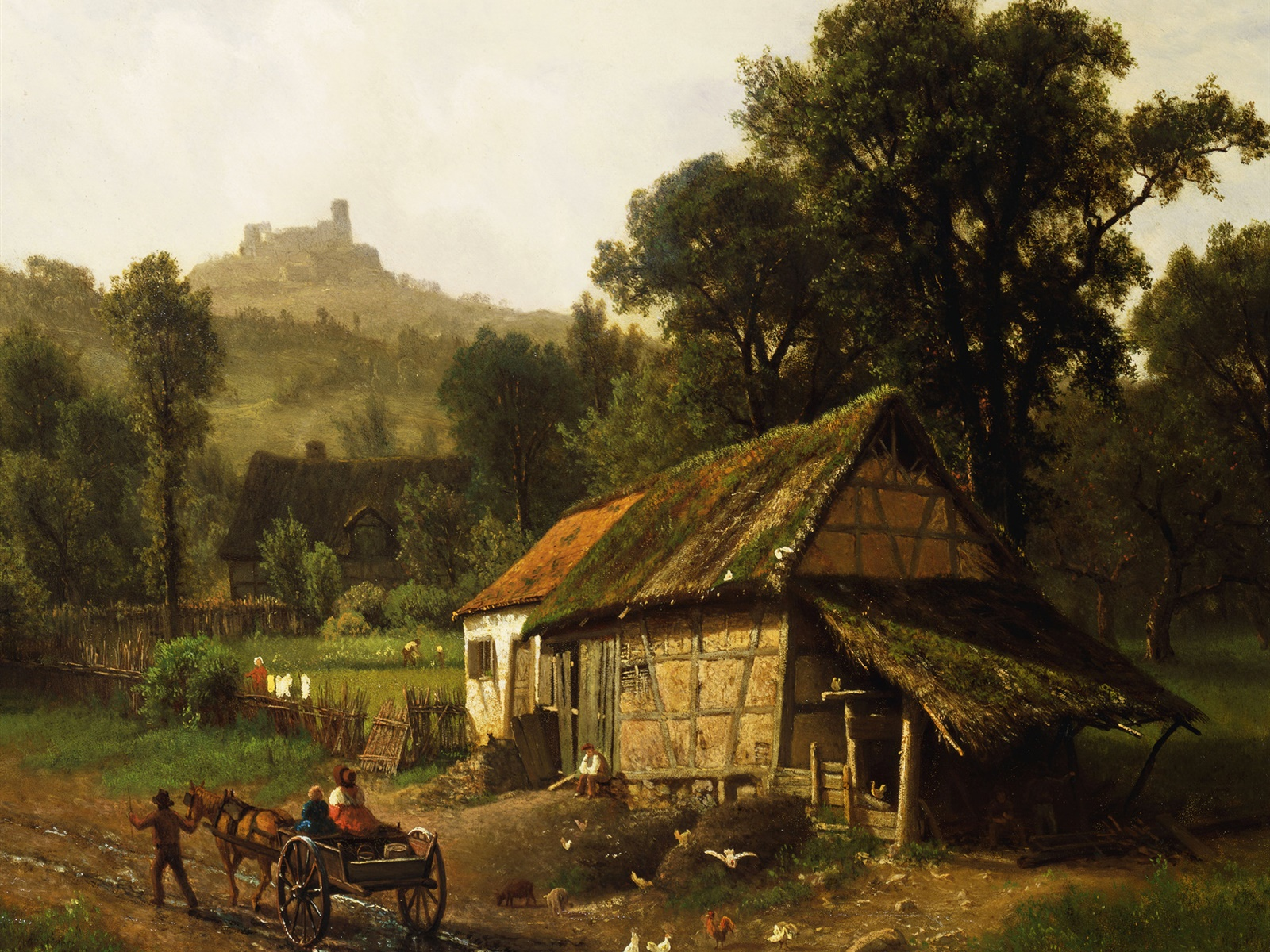 Art painting, countryside, house, wagon, trees, mountain 1600x1200 wallpaper
