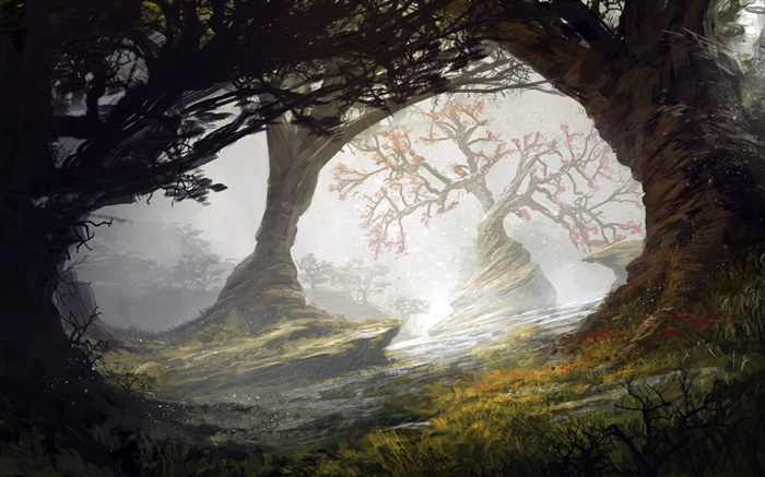 Art painting, forest, trees Wallpapers Pictures Photos Images