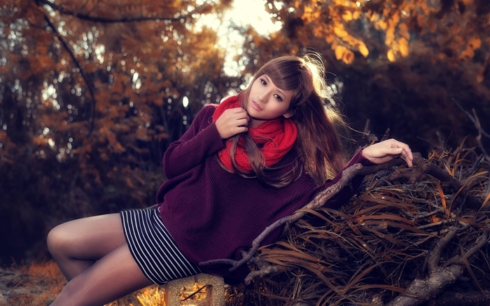 Asian girl, posture, red scarf, spring Wallpapers Pictures Photos Images