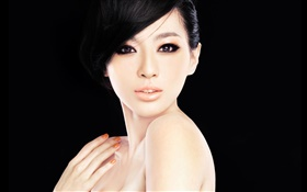 Asian model girl, face, eyes, hands, black background HD wallpaper