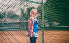 Asian school girl, glasses, pink clothes, fence HD wallpaper
