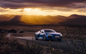 Audi R8 V10 blue car, sunset, clouds HD wallpaper