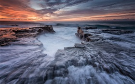 Australia, New South Wales, Royal national Park, coast, sea, rocks, dawn HD wallpaper