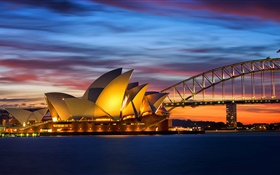 Australia, Sydney Opera House, bridge, evening, lights, sea HD wallpaper