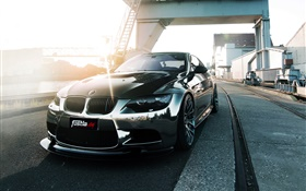 BMW M3 E92 black car front view HD wallpaper