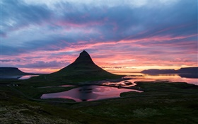 Beautiful Iceland sunrise, Kirkjufell, mountain, valley, clouds HD wallpaper
