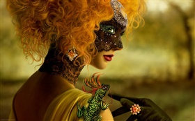 Beautiful blonde girl, fantasy, mask, chameleon HD wallpaper