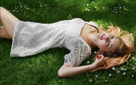 Beautiful girl lying grass, white dress, posture HD wallpaper