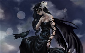 Black dress fantasy girl, crow wizard, wings HD wallpaper