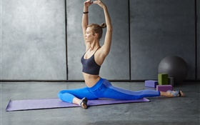 Blonde girl, pose, workout yoga HD wallpaper