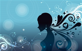Blue background, fashion vector girl, hair style HD wallpaper