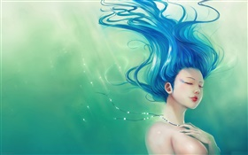 Blue hair fantasy girl, hair flying