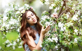 Brown hair girl, apple tree, white flowers blossom HD wallpaper