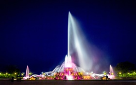 Buckingham Fountain, Chicago, Grant Park, USA, night, lights HD wallpaper