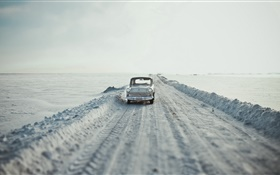 Car, road, snow, retro style HD wallpaper