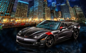 Chevrolet Corvette supercar, city, night, skyscrapers HD wallpaper