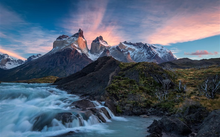 Chile, Patagonia, National Park Torres del Paine, mountains, river, sunrise Wallpapers Pictures Photos Images