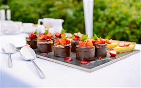 Chocolate cakes, dessert, strawberry, mint, food HD wallpaper