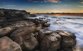 Coast, ocean, rocks, sunrise, beach HD wallpaper
