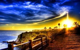 Coast, sea, road, fence, house, sunrise, clouds HD wallpaper