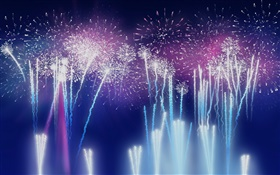 Colorful fireworks, flash, night HD wallpaper