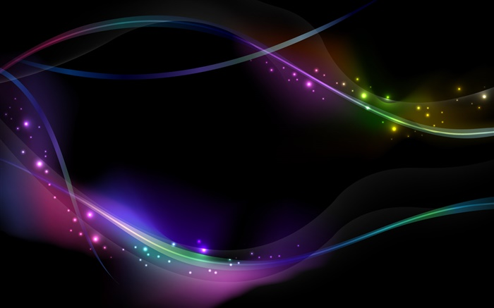 Colorful light lines, black background, abstract Wallpapers Pictures Photos Images