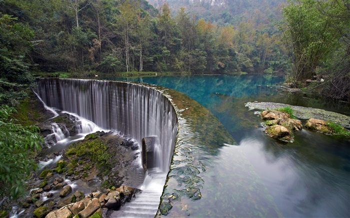 Croatia, Plitvice Lakes National Park, forest, stones, trees, waterfall Wallpapers Pictures Photos Images