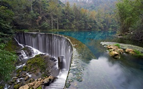 Croatia, Plitvice Lakes National Park, forest, stones, trees, waterfall