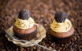 Cupcakes, cream, chocolate, coffee beans HD wallpaper