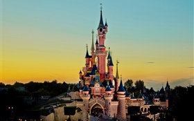 Disneyland, castle, sunset, dusk HD wallpaper