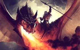 Dragon rider, fire, art painting HD wallpaper