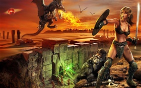 EverQuest, warrior girl, dragon, fire HD wallpaper