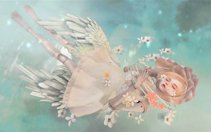 Fantasy angel girl, blonde, sleep, flowers Wallpapers Pictures Photos Images