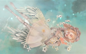 Fantasy angel girl, blonde, sleep, flowers HD wallpaper