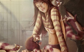 Fantasy girl and red panda HD wallpaper