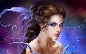 Fantasy girl, blue eyes HD wallpaper