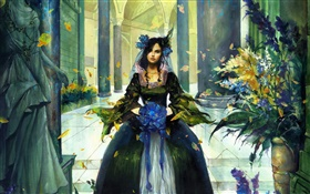 Fantasy girl in hall, blue flower in hand HD wallpaper