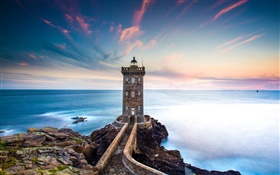 France, Finistere, Kermorvan lighthouse, sea, coast, sunset