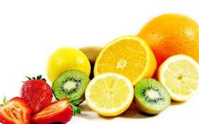 Fruits close-up, orange, lemon, kiwi, strawberries HD wallpaper